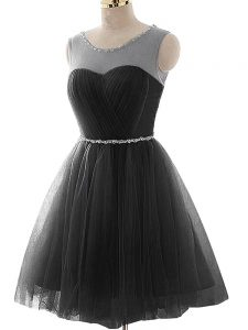 Scoop Sleeveless Pageant Dress for Teens Mini Length Beading and Ruching Black Tulle