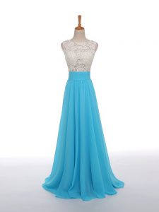 Modern Baby Blue Chiffon Side Zipper Pageant Dress Wholesale Sleeveless Floor Length Lace and Appliques