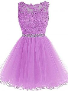 Lilac Tulle Lace Up Pageant Dress Wholesale Sleeveless Mini Length Beading and Lace and Appliques