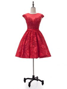 Fashionable Sweetheart Sleeveless Pageant Dress Toddler Mini Length Beading and Appliques Red Lace