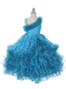 Teal Little Girls Pageant Dress Wedding Party with Lace and Ruffles and Ruffled Layers Asymmetric Sleeveless Lace Up