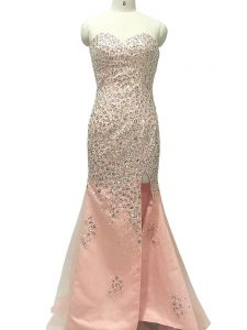 Inexpensive Peach Tulle Zipper Pageant Dress for Womens Sleeveless Sweep Train Beading