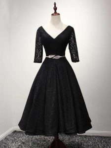 Comfortable Ankle Length Black Pageant Dress Womens V-neck Half Sleeves Lace Up