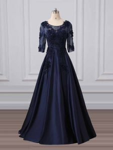 3 4 Length Sleeve Lace and Appliques Zipper Pageant Dress Wholesale with Navy Blue Brush Train