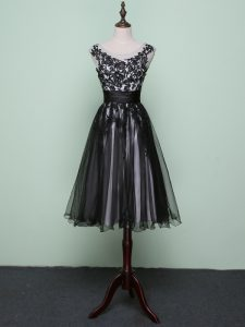 Excellent Black Sleeveless Lace and Appliques Knee Length Custom Made Pageant Dress