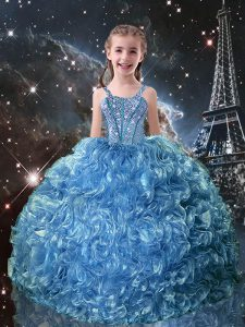 Ball Gowns Glitz Pageant Dress Baby Blue Straps Organza Sleeveless Floor Length Lace Up