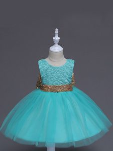 Aqua Blue Tulle Zipper Little Girl Pageant Dress Sleeveless Knee Length Lace and Bowknot