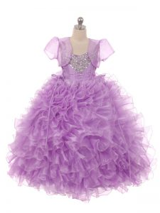 Floor Length Lace Up Pageant Dress for Teens Eggplant Purple for Wedding Party with Beading and Ruffles