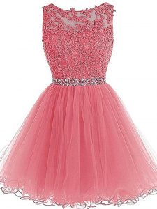 Pink Zipper High School Pageant Dress Beading and Lace and Appliques and Ruffles Sleeveless Mini Length