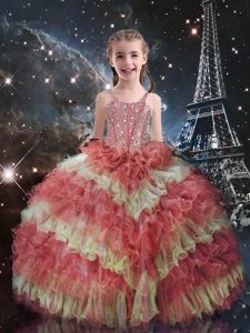 Latest Watermelon Red Lace Up Straps Beading and Ruffled Layers Little Girl Pageant Dress Organza Short Sleeves