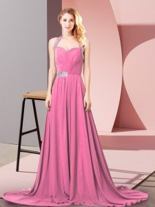 Pink Sleeveless Chiffon Brush Train Zipper Pageant Dress Wholesale for Prom and Party and Military Ball and Beach