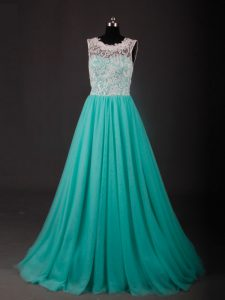 Turquoise A-line Lace and Embroidery Winning Pageant Gowns Zipper Chiffon Sleeveless