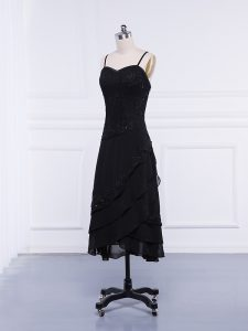 Black Zipper Straps Lace and Appliques Pageant Dress Womens Chiffon Sleeveless