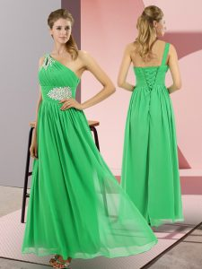 Green Empire One Shoulder Sleeveless Chiffon Floor Length Lace Up Beading Custom Made Pageant Dress