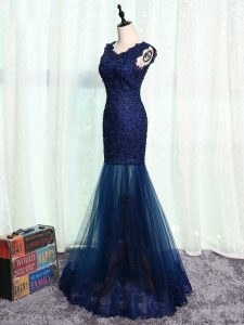 Clearance Navy Blue Mermaid Beading and Lace and Appliques Custom Made Pageant Dress Zipper Tulle Sleeveless Floor Length