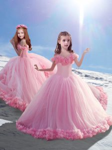 Baby Pink High School Pageant Dress Off The Shoulder Sleeveless Court Train Lace Up