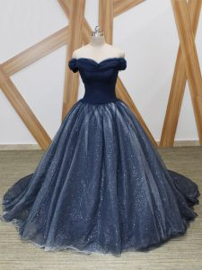 Latest Off The Shoulder Sleeveless Tulle Pageant Dress for Womens Ruching Brush Train Lace Up