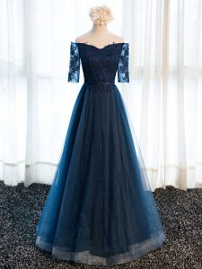 Dazzling Navy Blue Tulle Lace Up V-neck Half Sleeves Floor Length Custom Made Pageant Dress Beading and Lace and Appliques