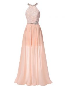 Admirable Peach Pageant Dress Toddler Prom and Military Ball and Beach with Beading Halter Top Sleeveless Backless