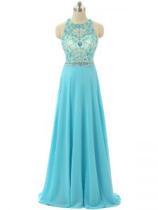 Modern Aqua Blue Sleeveless Chiffon Zipper Winning Pageant Gowns for Prom and Sweet 16 and Beach