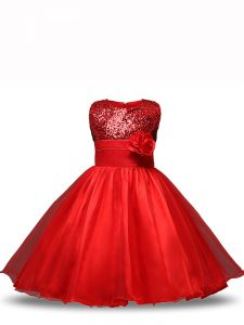 Sleeveless Knee Length Sequins and Hand Made Flower Zipper Little Girls Pageant Dress with Red