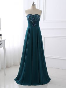 Sweet Teal Sleeveless Chiffon Zipper Custom Made Pageant Dress for Prom and Military Ball and Beach