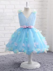 Appliques and Hand Made Flower Little Girl Pageant Gowns Baby Blue Zipper Sleeveless Knee Length