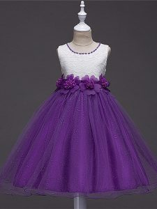Sleeveless Tulle Knee Length Zipper Little Girls Pageant Dress in Purple with Lace and Hand Made Flower