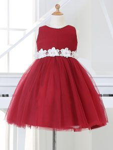Appliques Little Girls Pageant Dress Wholesale Wine Red Zipper Sleeveless Knee Length