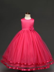 High Quality Floor Length Hot Pink Little Girls Pageant Dress Scoop Sleeveless Zipper