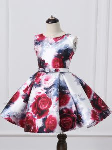 Cute Sleeveless Mini Length Pattern and Belt Zipper Glitz Pageant Dress with Multi-color