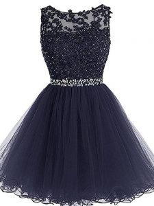 Luxurious Mini Length Navy Blue Pageant Dress Wholesale Scoop Sleeveless Zipper