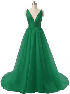 Fashion Dark Green Pageant Dress Prom and Party and Military Ball with Ruching V-neck Sleeveless Brush Train Backless