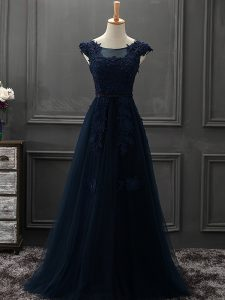 Floor Length Navy Blue Custom Made Pageant Dress Scoop Sleeveless Lace Up