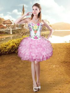Spectacular Sweetheart Sleeveless Organza Pageant Dresses Embroidery and Ruffled Layers Lace Up