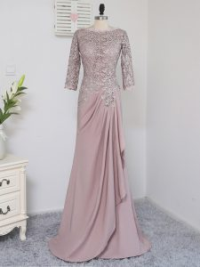Pink Elastic Woven Satin Zipper Winning Pageant Gowns Half Sleeves Brush Train Beading and Lace and Appliques