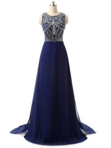 Hot Sale Navy Blue Sleeveless Beading Zipper Winning Pageant Gowns