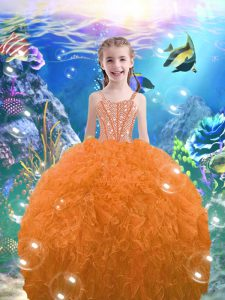Floor Length Orange Red Pageant Gowns For Girls Straps Sleeveless Lace Up