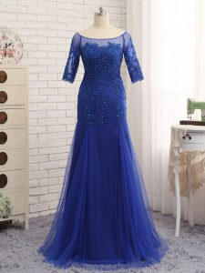 Wonderful Scoop Half Sleeves Zipper Pageant Dresses Royal Blue Tulle