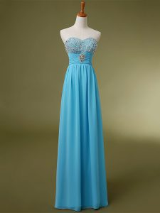 Sumptuous Baby Blue Sweetheart Lace Up Beading and Ruching Pageant Dress Womens Sleeveless
