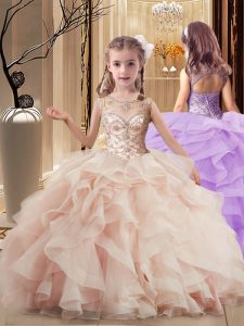 Perfect Peach Sleeveless Tulle Brush Train Lace Up Little Girl Pageant Gowns for Party and Wedding Party
