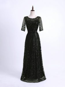 Black Pageant Dress Womens Prom and Military Ball and Sweet 16 with Lace and Appliques Scoop Half Sleeves Lace Up
