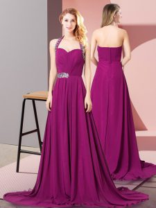 High End Fuchsia Winning Pageant Gowns Prom and Party and Military Ball with Beading and Ruching Halter Top Sleeveless Brush Train Zipper