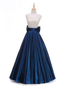 Edgy Navy Blue A-line Scoop Sleeveless Taffeta Floor Length Backless Beading and Bowknot Winning Pageant Gowns