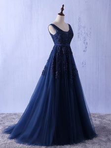 Extravagant Navy Blue Sleeveless Appliques Floor Length Pageant Dress for Teens