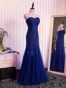 Free and Easy Tulle Sweetheart Sleeveless Lace Up Beading and Lace and Appliques and Pleated Pageant Dress for Teens in Royal Blue