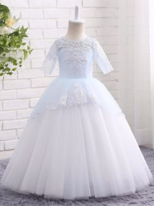 Pretty Floor Length Blue And White Kids Formal Wear Scoop Half Sleeves Clasp Handle