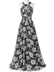 Multi-color Empire Halter Top Sleeveless Printed Floor Length Zipper Ruching Pageant Dress