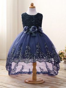 New Style Navy Blue Ball Gowns Scoop Sleeveless Tulle High Low Zipper Lace and Appliques and Bowknot and Hand Made Flower Little Girls Pageant Dress Wholesale