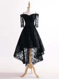 Graceful Half Sleeves Tulle High Low Lace Up High School Pageant Dress in Black with Lace
